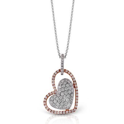 So gorgeous! 18K white and rose gold heart pendant from Simon G. Style: TP181