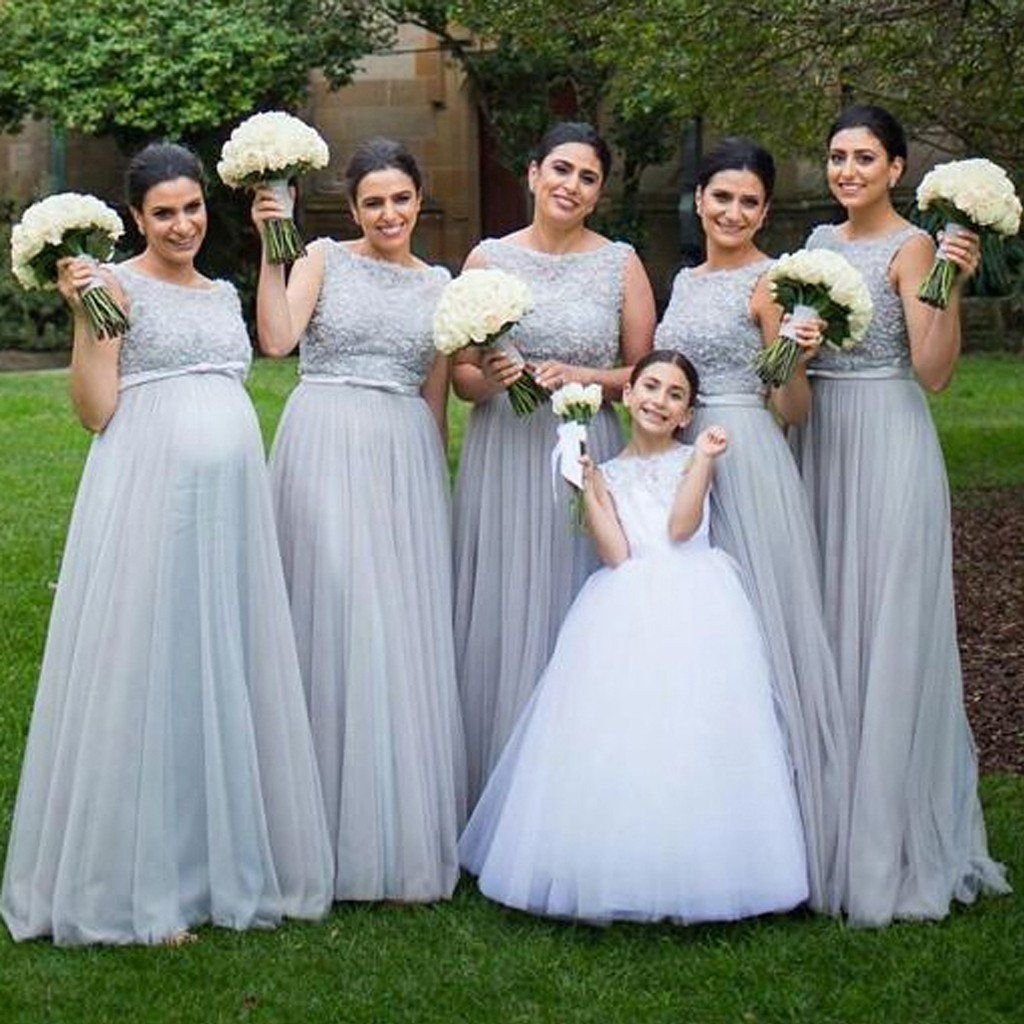 Silver Tulle Elegant Long Cheap Wedding Party Bridesmaid Dresses for ...