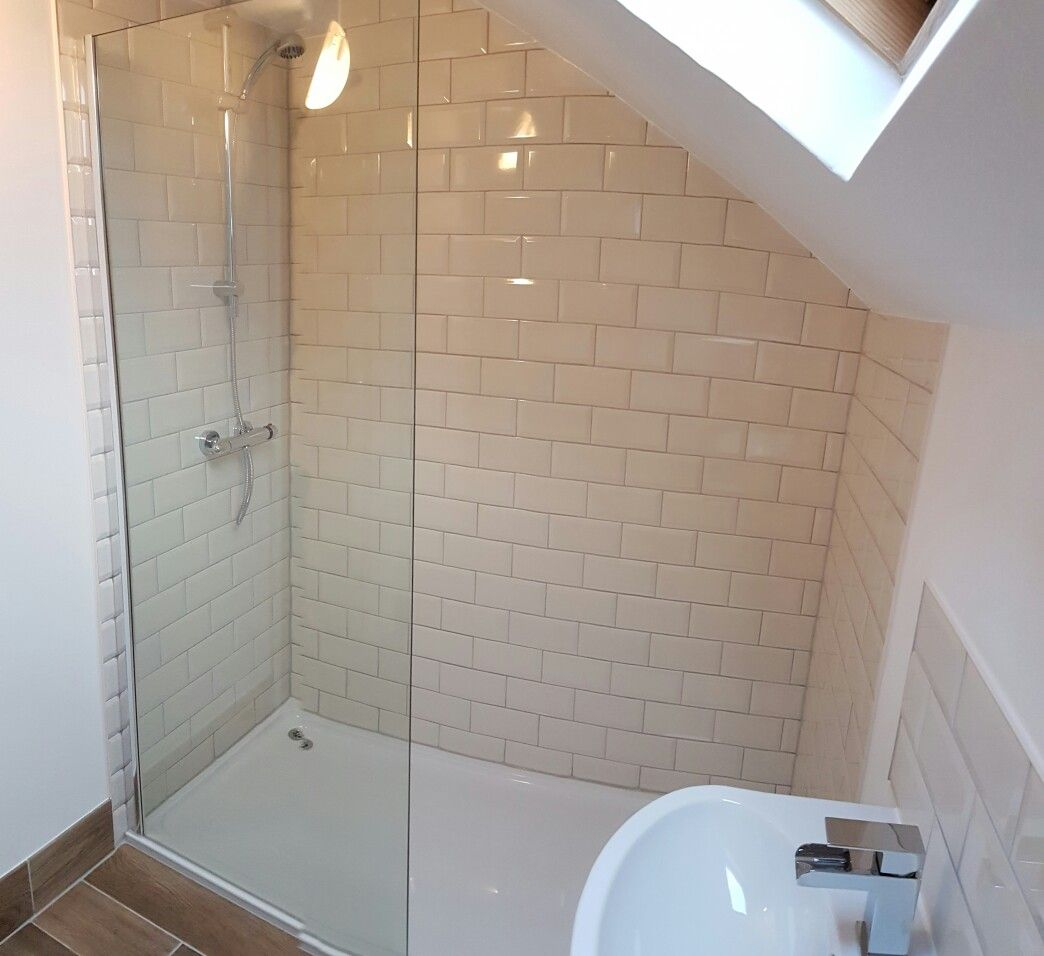 Attic Bathroom With Sloped Ceiling Cream Metro Wall Tiles And Wood Effect Floor Tile Low Profile Shower Tray W Attic Bathroom Trendy Bathroom Tiles Wet Rooms