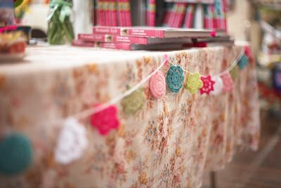 Homespun style Book Party & Market event - Flower garland by Emma Lamb