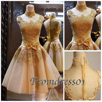 2015 elegant golden flower lace organza vintage short prom dress ...