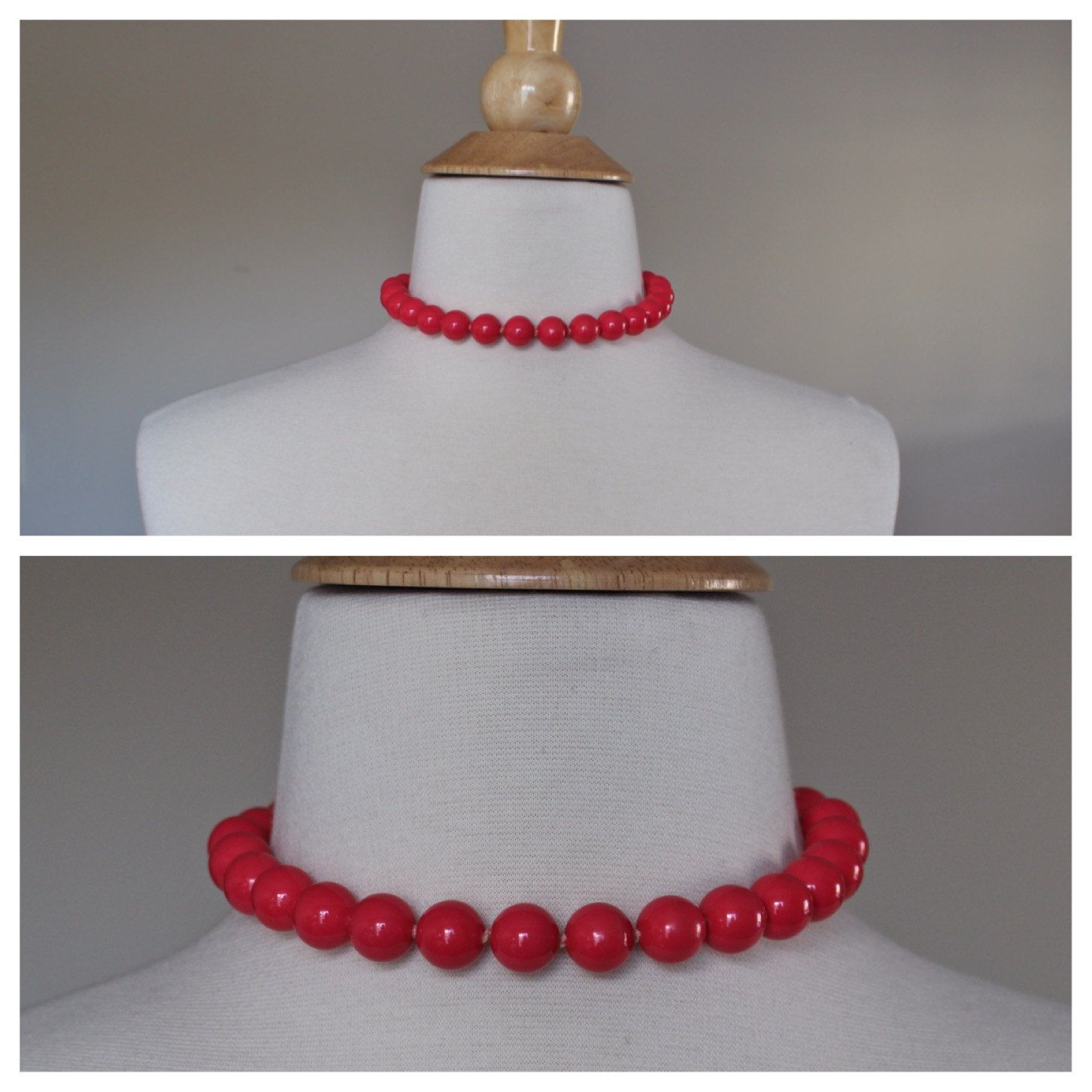 Vintage 1940's Retro Pinup Rockabilly Heavy Dark Pink Large Galalith Beaded Necklace Choker Hook Clasp Marked Japan by SimplePratiqueElegan on Etsy