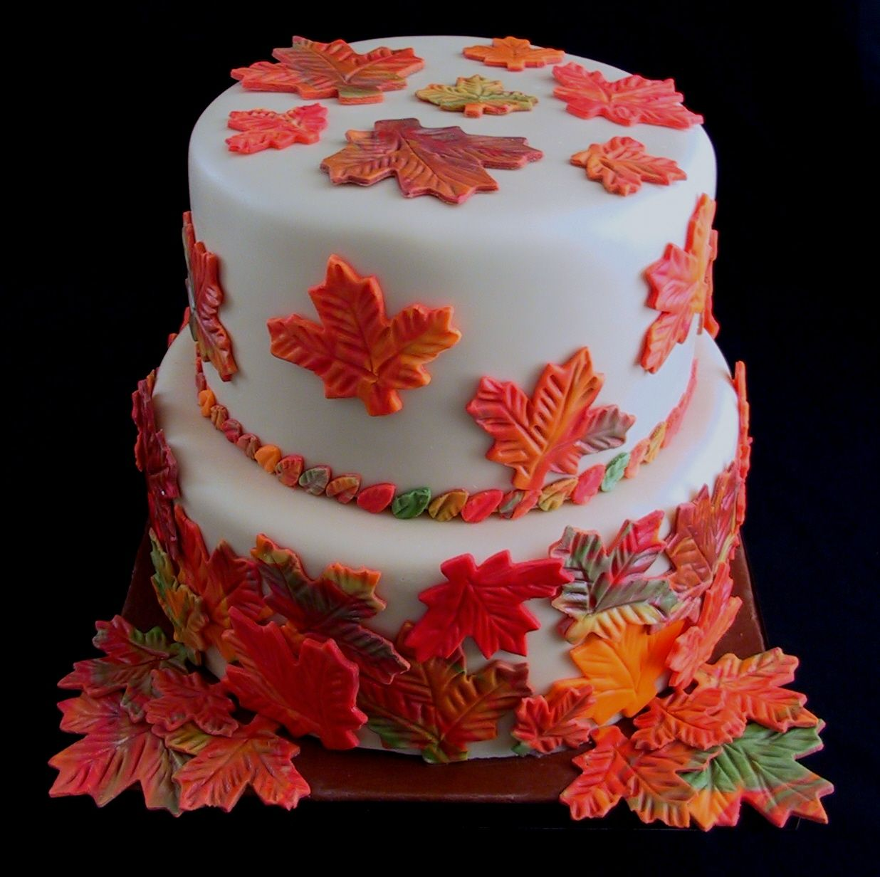 Autumn birthday cakes red yellow orange this colorful fall leaf