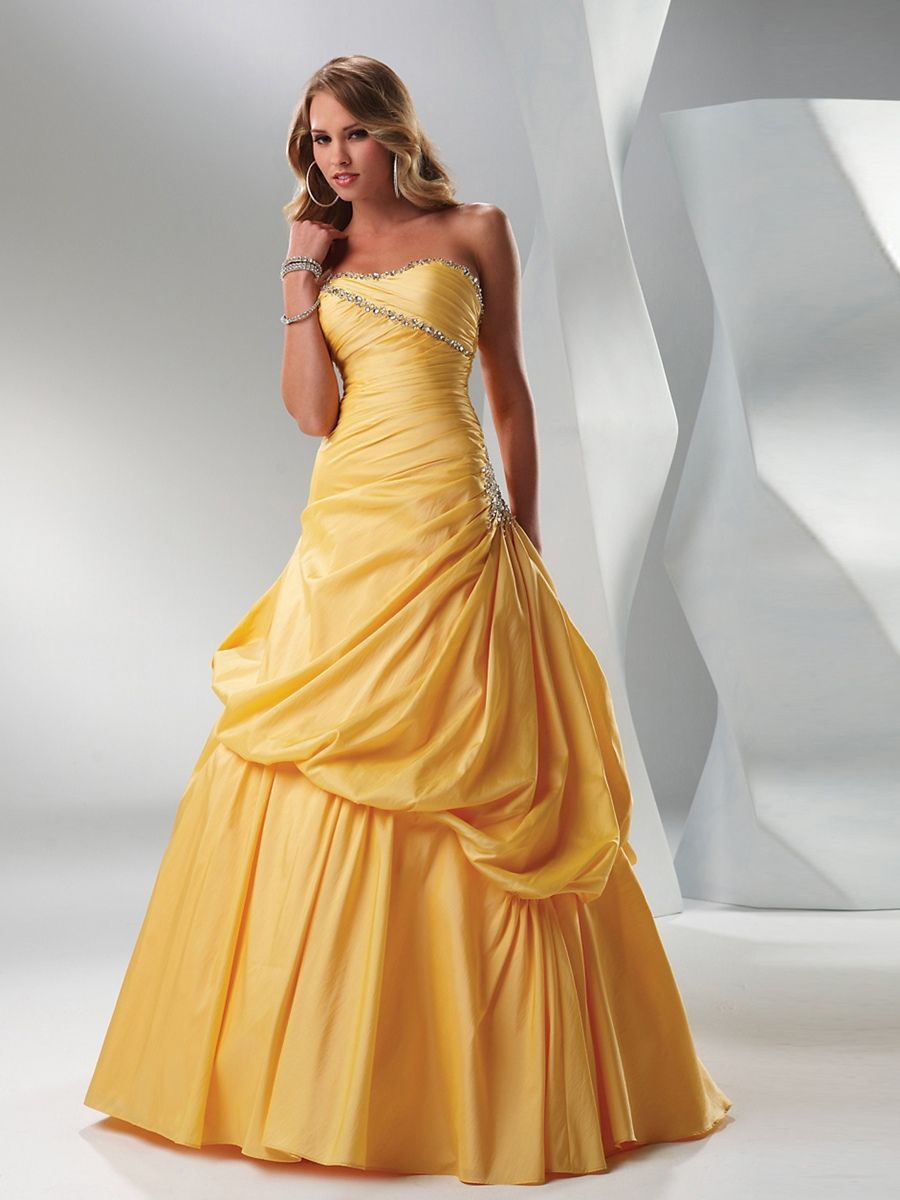 Daffodil Ball Gown Strapless Beaded Trim Balloon Full Length Taffeta Quinceanera Dress: Wedding Dress With Orange Trim At Reisefeber.org