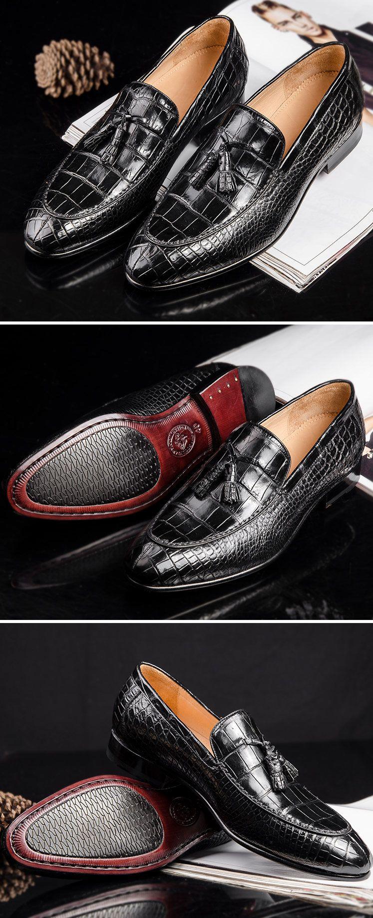 48aa956b34 Genuine Alligator Skin Slip-on Loafer Dress Shoes for Men in 2019 ...
