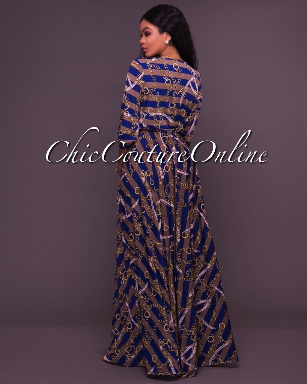 5a3c2b8ee6a Chic Couture Online - Bailee Blue Chain Print Belted Maxi Dress