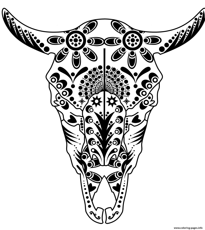 Print Cow Sugar Skull Pitbull Advanced Calavera Coloring