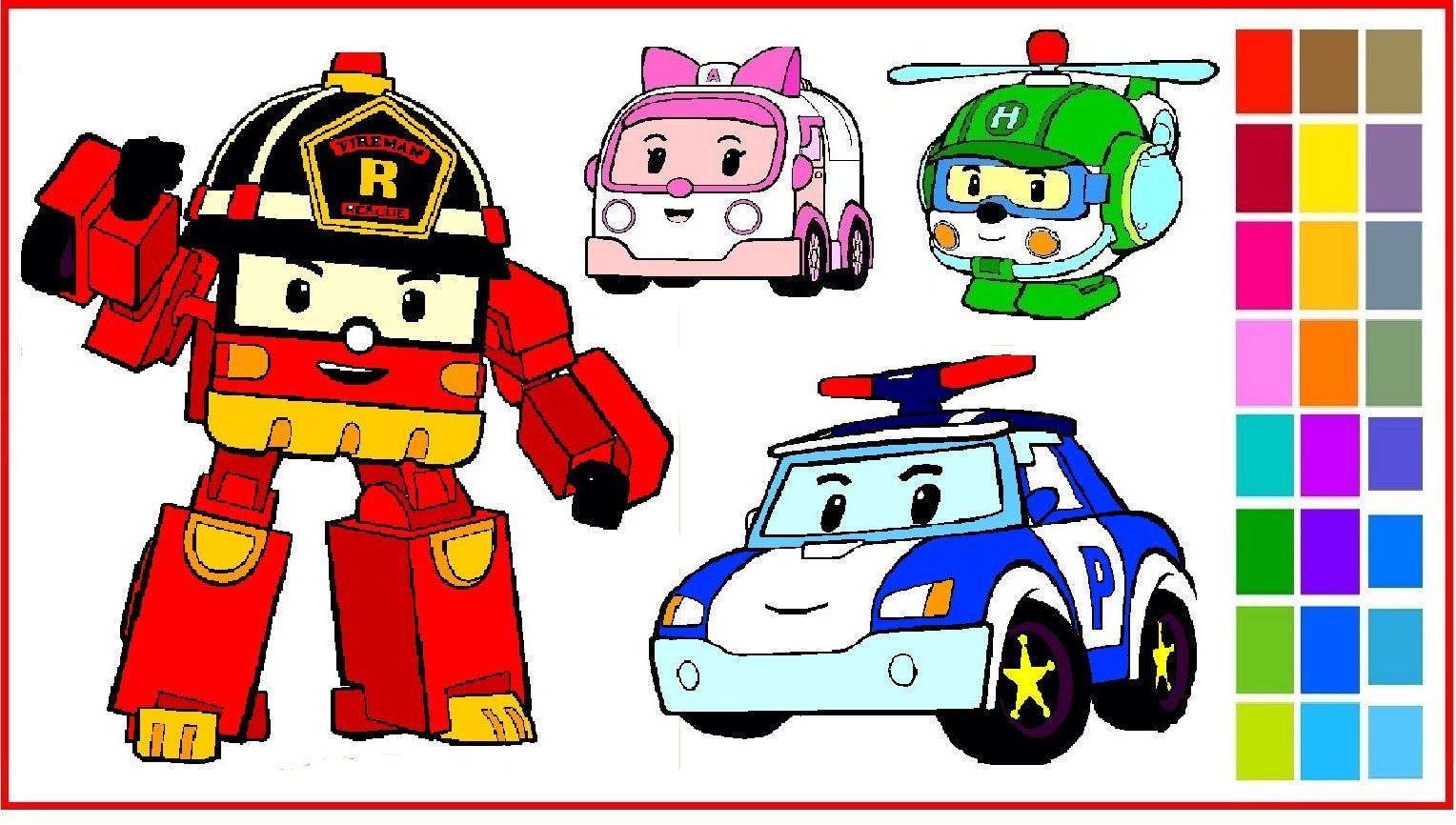 Robocar poli coloring pages coloring poli roy amber and helly