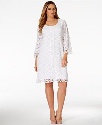 Alfani Plus Size Crochet-Trim Lace Dress, Only at Macy\'s - Dresses ...