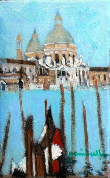 Tableau Peinture Venise La Salute Gondole Marine Peinture A L