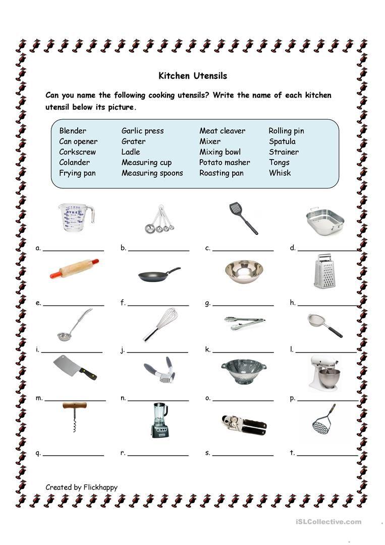 Kitchen Utensils Worksheet Free Esl Printable Worksheets Made By Teachers Life Skills Classroom Kitchen Utensils Worksheet Cooking Classes For Kids
