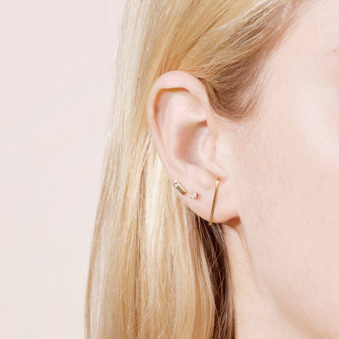 382095858 ... multiple ear piercings. Gold Suspender Earring – STONE AND STRAND
