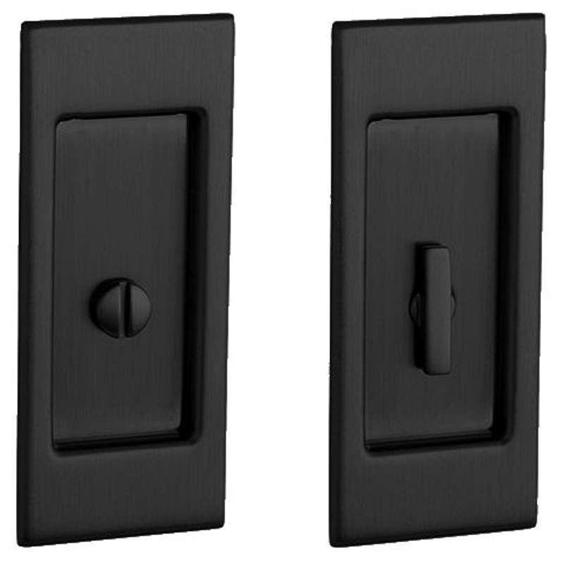 Priv Santa Monica Privacy Pocket Door Set With Pull From The Satin Black Lock