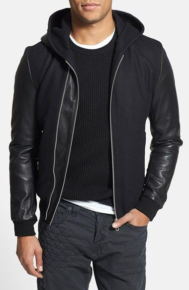 7 Diamonds Ace Wool Blend Hooded Bomber Jacket With