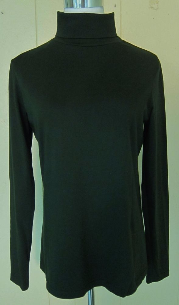 Coldwater Creek S 6-8 Long Sleeve Cotton Stretch Turtleneck Top Dark Green #ColdwaterCreek #Turtleneck