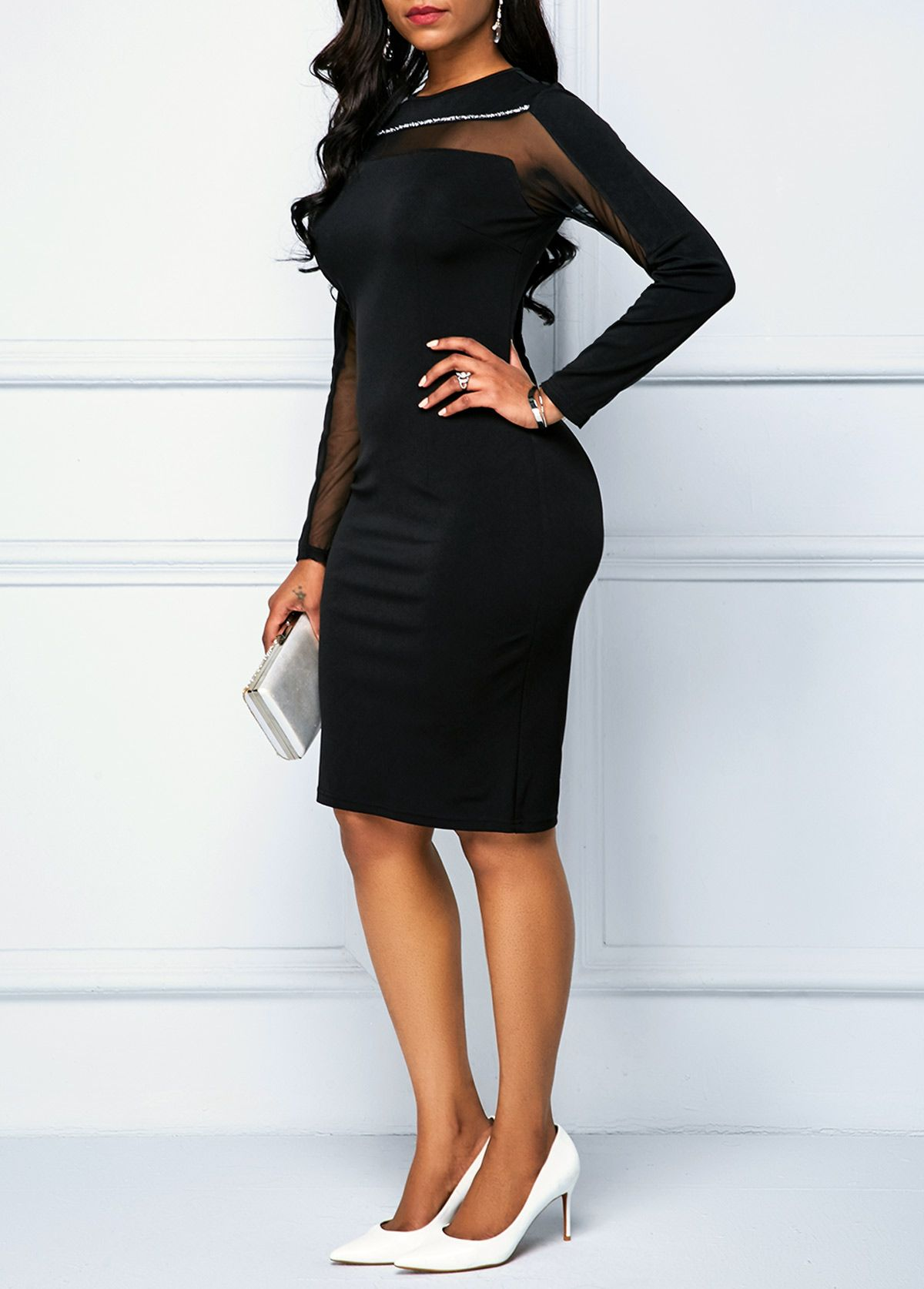 Black Zipper Back Long Sleeve Sheath Dress Rotita Com Usd 30 36 Shop Casual Dresses Long Sleeve Sheath Dress Dresses [ 1674 x 1200 Pixel ]