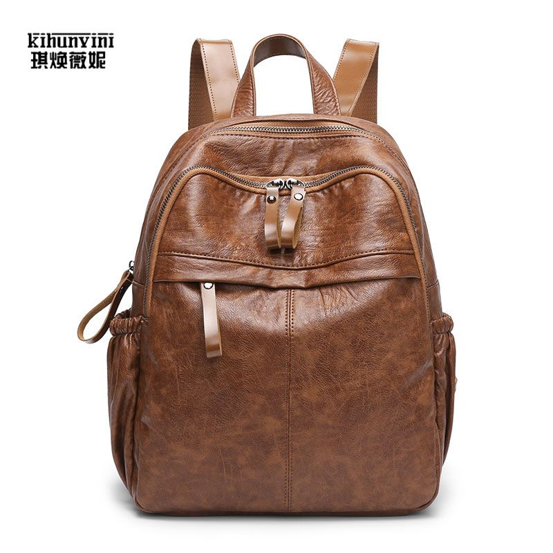818dbab83e25 KIHUNVINI Women Backpack Vintage PU Leather Backpacks for Teenager Girls  Casual Travel Bag Pack Female Rucksack