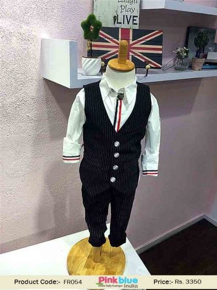 a4cba84badeb Cute Boys Black Pinstripe Waistcoat Outfit Suit with Pant and White ...