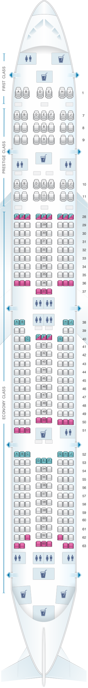 Seat Map Korean Air Boeing B777 300 338PAX Korean Air