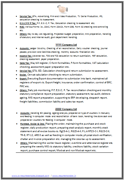 B Com Resume Format For Experienced Page 2 Resume Format Resume Format