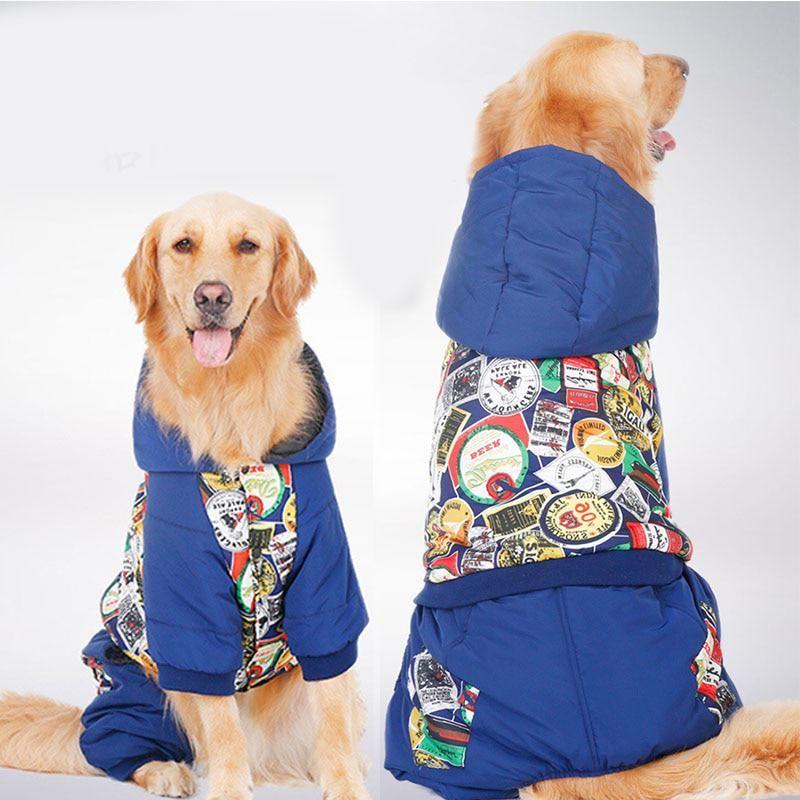Big Large Dog Labrador Jumpsuit Jacket Clothes Winter Warm Dog