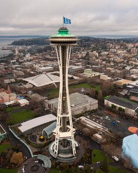 12th MAN Flag atop the Space Needle Picture at Seattle Seahawks
