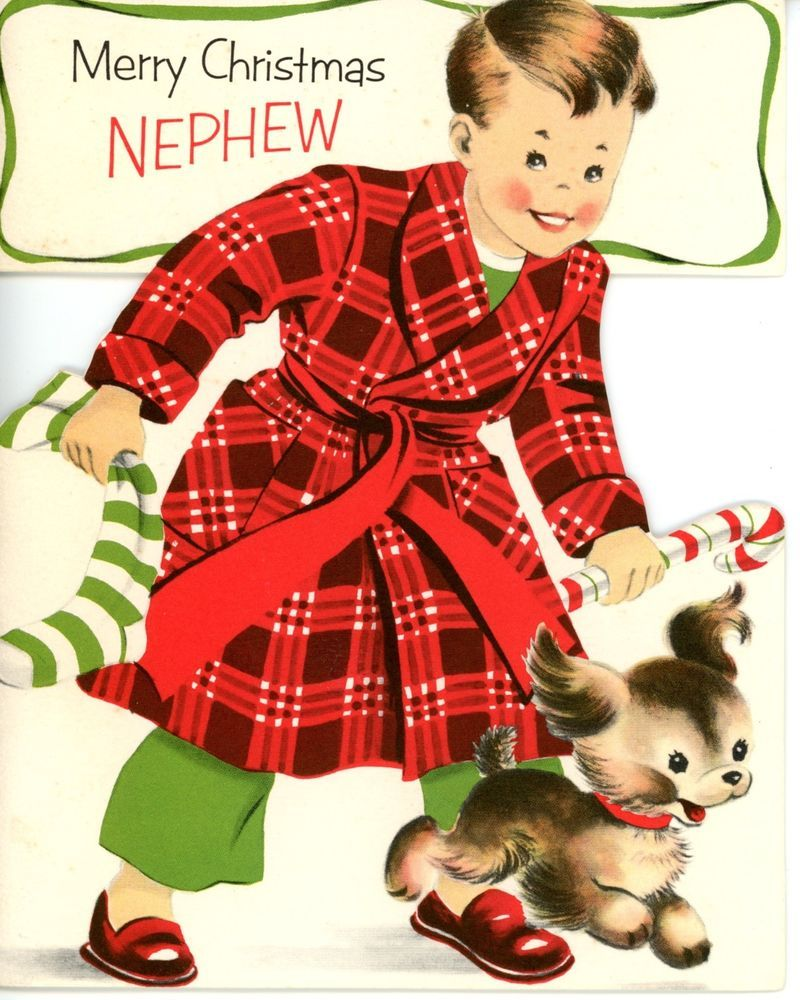Vintage Norcross Greeting Card Boy Dog In Plaid Robe Christmas