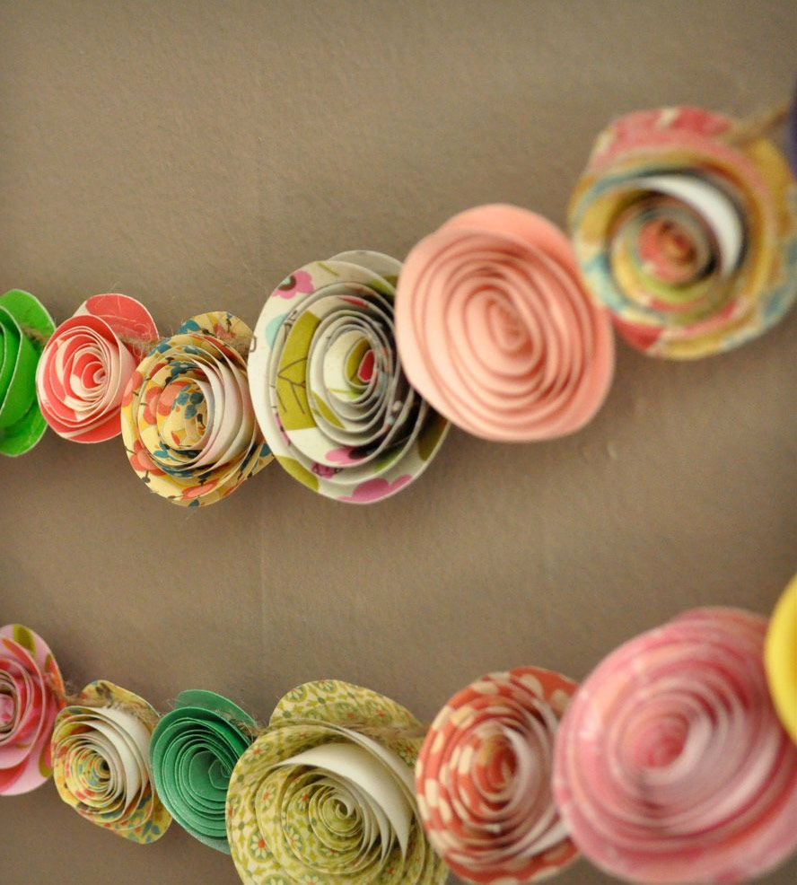 Colorful paper flower garland set of 2 paper flower garlands colorful paper flower garland mightylinksfo