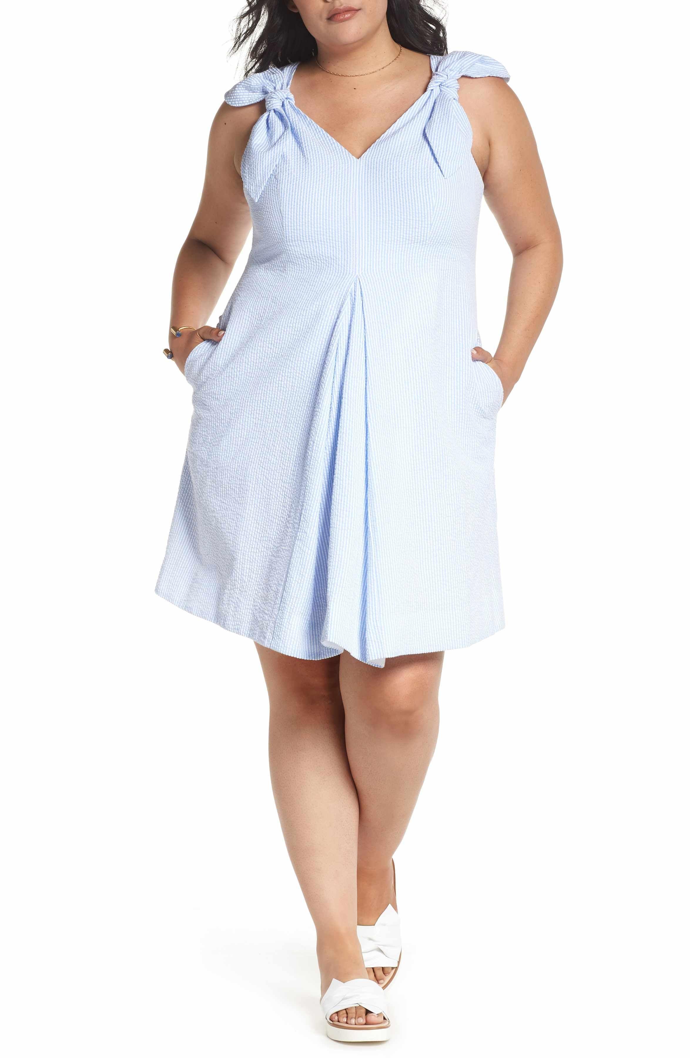 cb33fe0e526e Main Image - 1901 Bow Shoulder Seersucker Dress (Plus Size ...