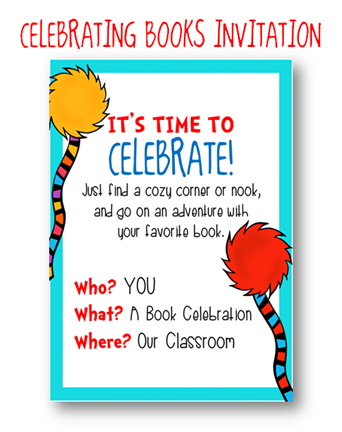 """present your students with an invitation to a """"book reading party, Party invitations"""