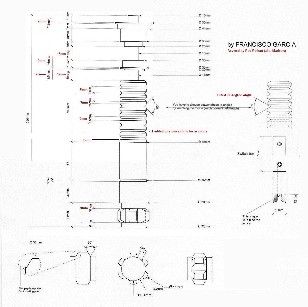 Lightsaber schematics. | Lightsabers | Star wars light saber ... on