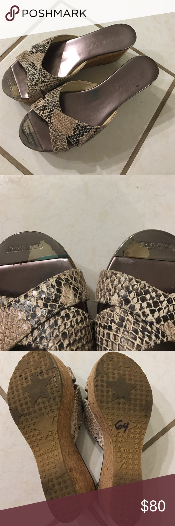 🐍Jimmy Choo snakeskin wedges.🐍 Good condition, some wear at big toe but not noticeable when wearing. So stylish. These will be your go-to to add some fun and flair to your summer wardrobe. 🐍 Jimmy Choo Shoes Wedges