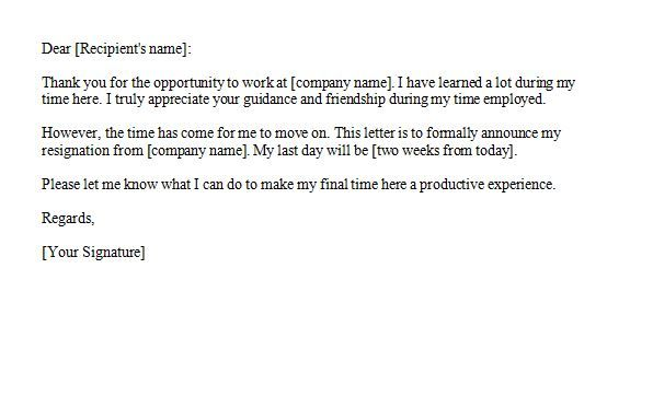 Two Weeks Notice   Work    Resignation Letter