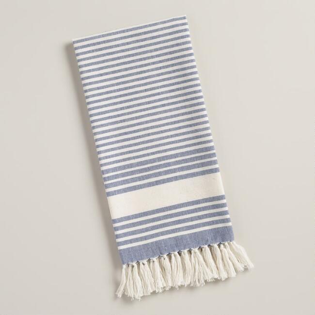Merveilleux Blue And White Villa Stripe Kitchen Towels, Set Of 2   V1