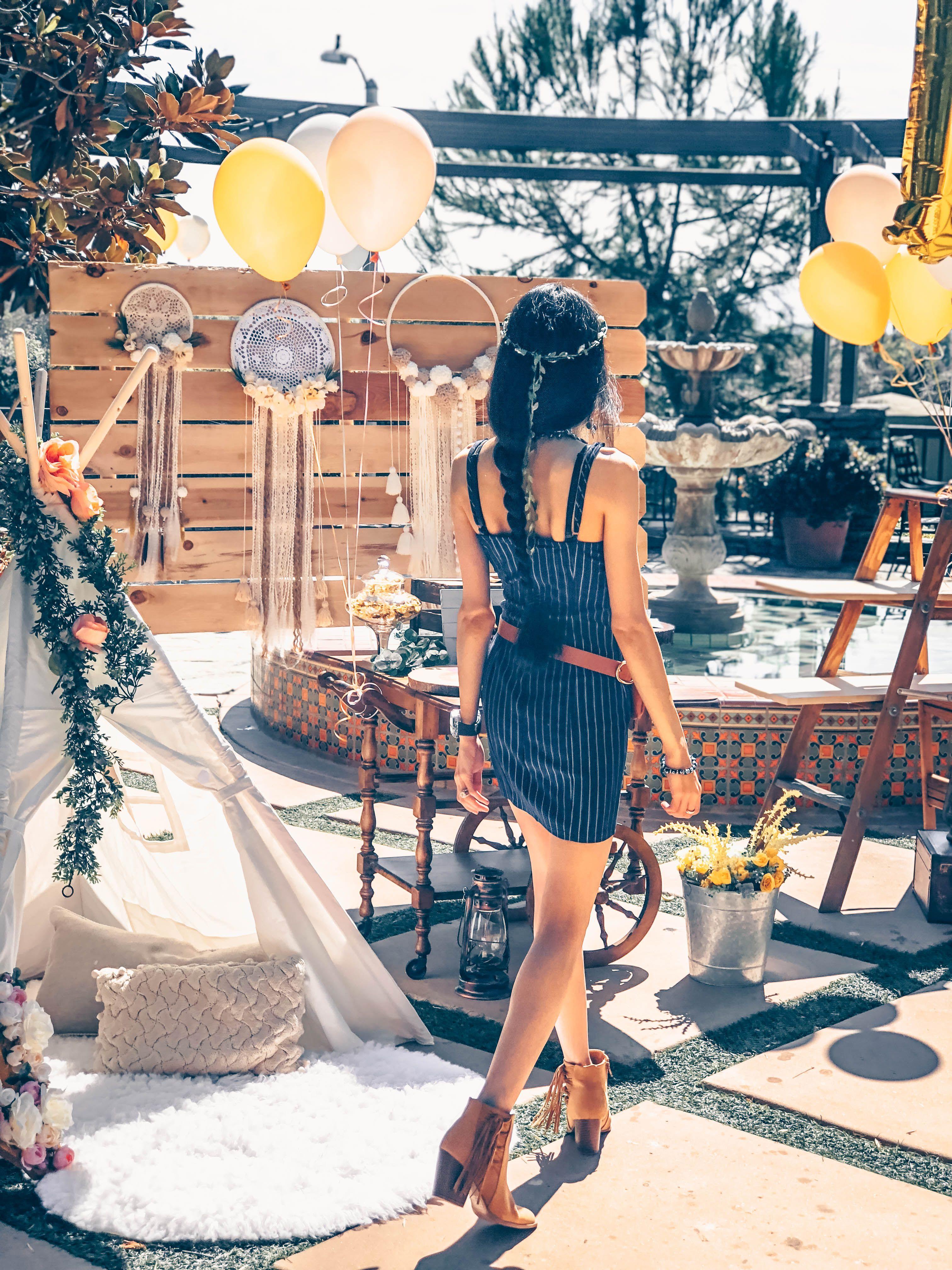 Bohemian Floral Theme Party Dress
