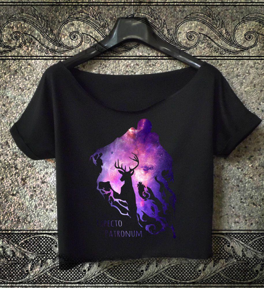 expecto patronum t-shirt deathly hallows crop top women cropped tee avada tops 2 #Handmade #BasicTee