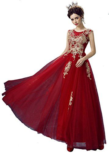 Vimans Long Dark Red Wedding Dresses Maxi Ball Gowns without Sleeves ...