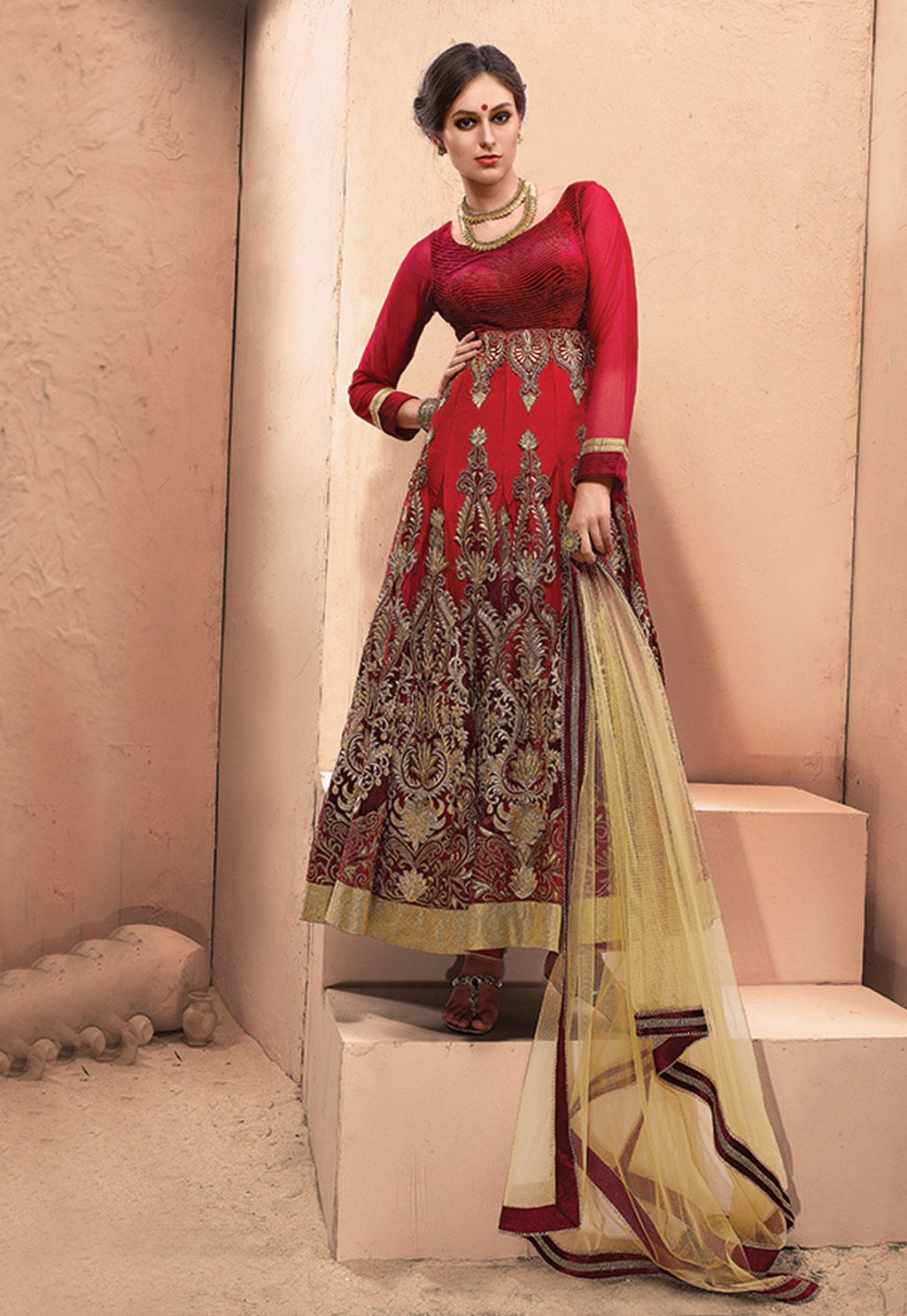 Orange net ankle length anarkali suit ankle length anarkali