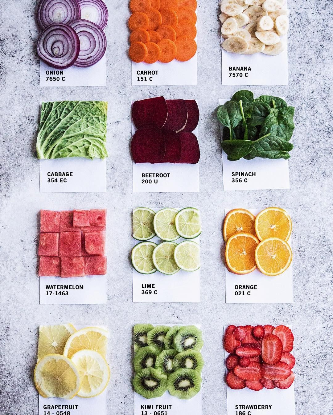 Pantone Food Colour Chips Photo And Styling Sneh Roy Cook Republic Photographing Food Food Flatlay Food