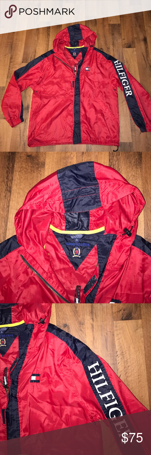 Vintage Large Tommy Hilfiger Spell Out Jacket Red Excellent condition Tommy Hilfiger Jackets & Coats Windbreakers