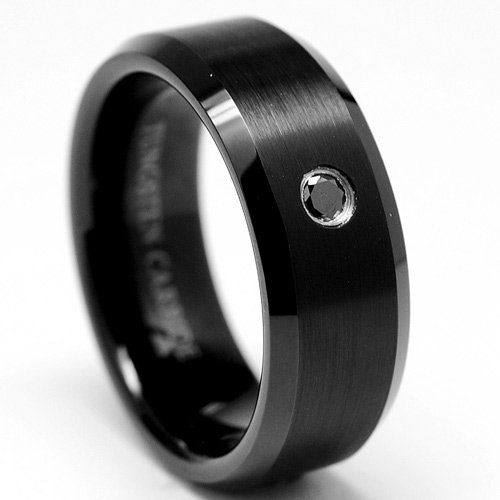 8MM Men s Black Tungsten Carbide Ring W BLACK DIAMOND Wedding Bands Size