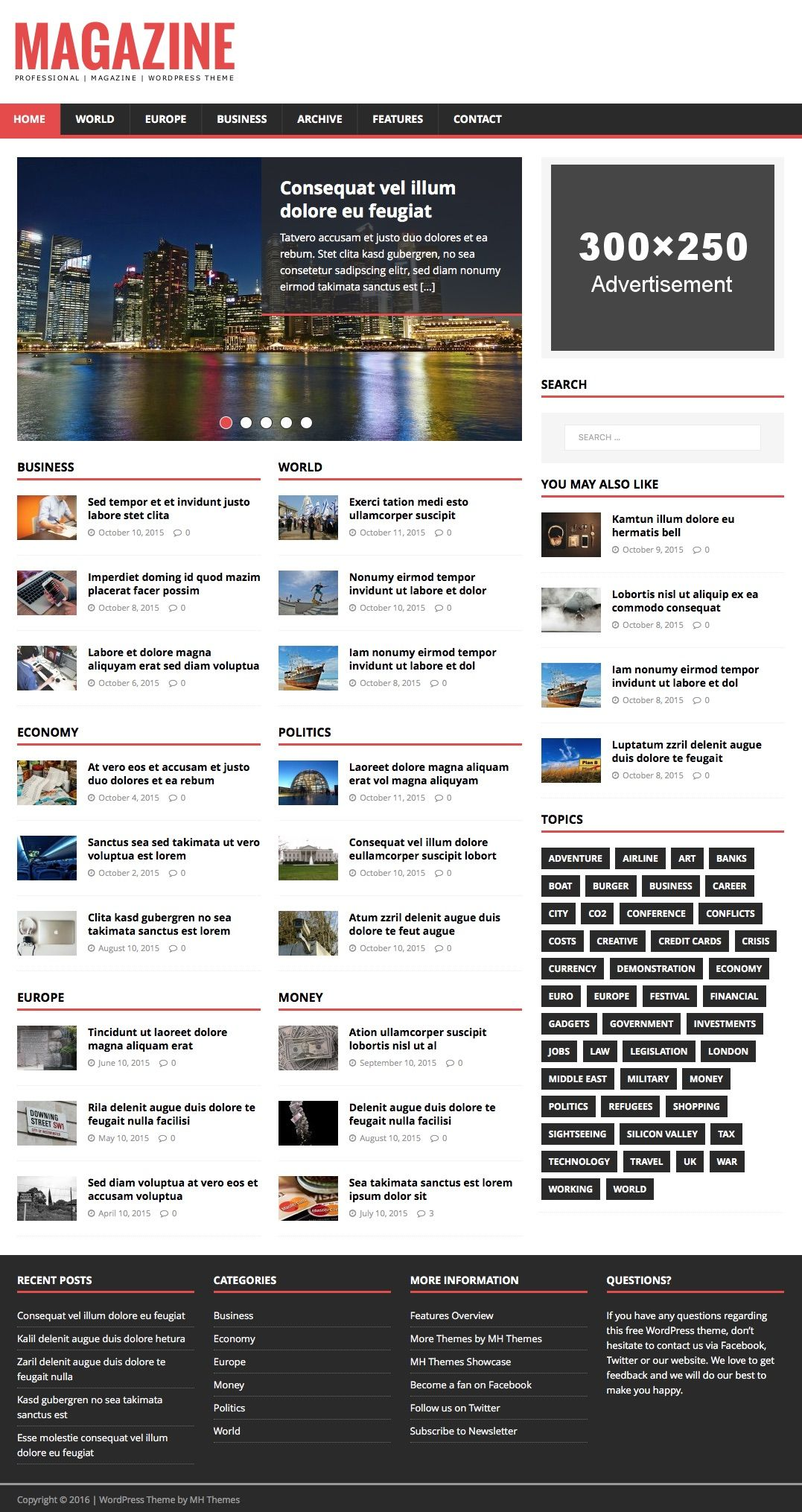 Mh Magazine Lite Is A Popular And Free Magazine Wordpress Theme For