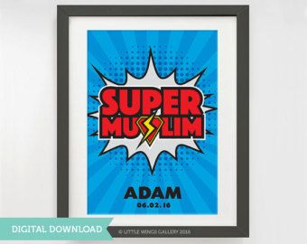 ♥ An Original Little Wings Gallery Design  Celebrate and commemorate a childs special occasion or accomplishment with this decorative print. Perfect for rewarding a child for memorising their first surah, reciting the Quran, fasting, praying etc. Personalised with the childs name and special date, this design can be customised to include other details if required. Because every child can be their own super hero!!  FRAME NOT INCLUDED.  CUSTOM COLOURS…
