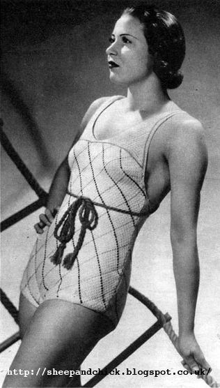 The Vintage Pattern Files 1930s Crochet Swim Suit Alusuikkari