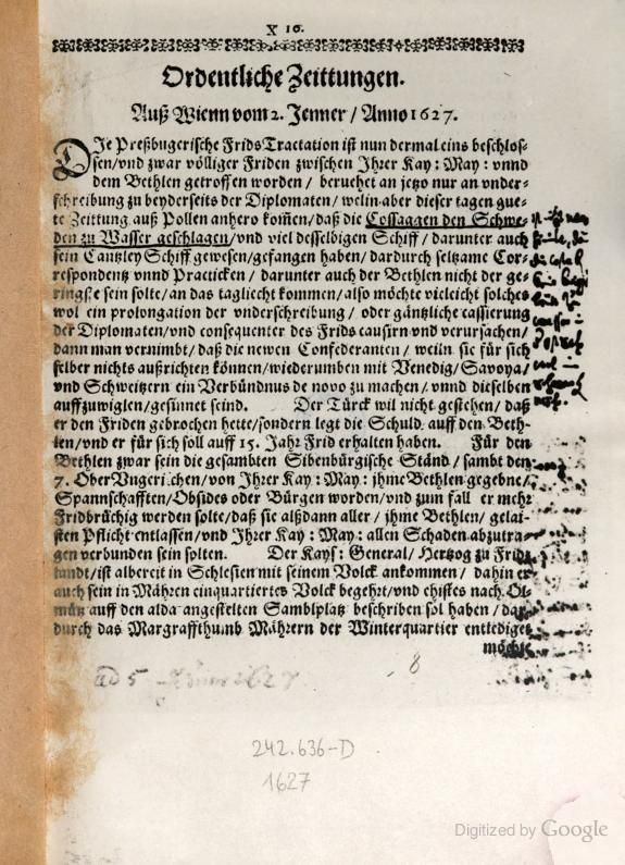 Ordentliche Postzeittungen(Postzeitungen) - 1627