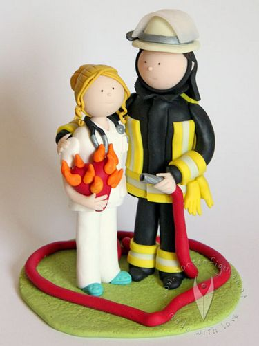 Feuerwehr Krankenschwester Brautpaar Hochzeitstortenfigur Explore