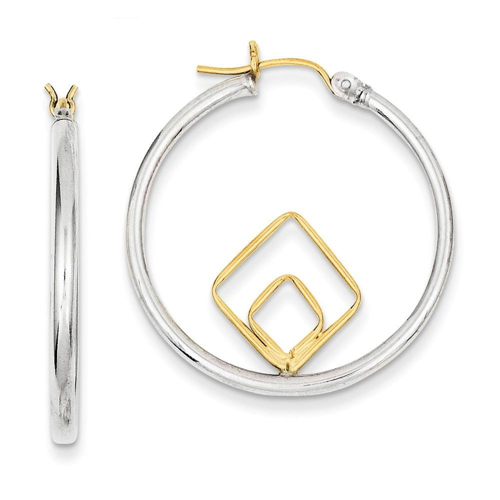 Sterling Silver w/14k Polished Circle and Squares Hoop Earrings