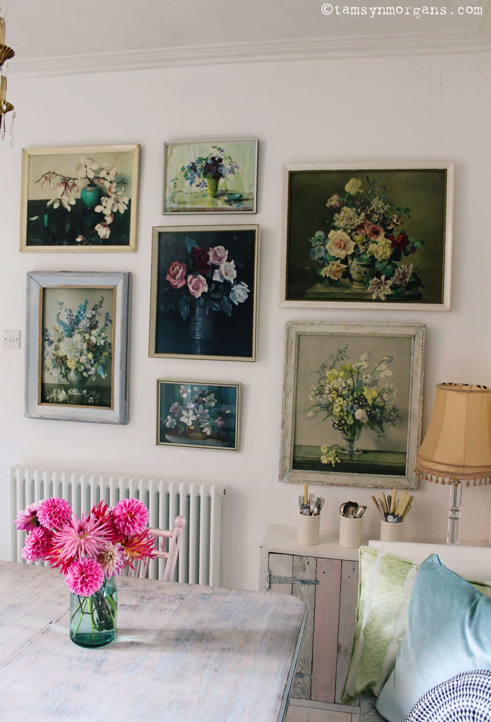 Floral gallery makeover vintage white floral wall art floral