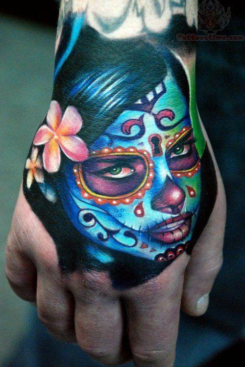 Sugar Skull Girl Tattoo Sugar Skull Dia De Los Muertos Face Tattoo