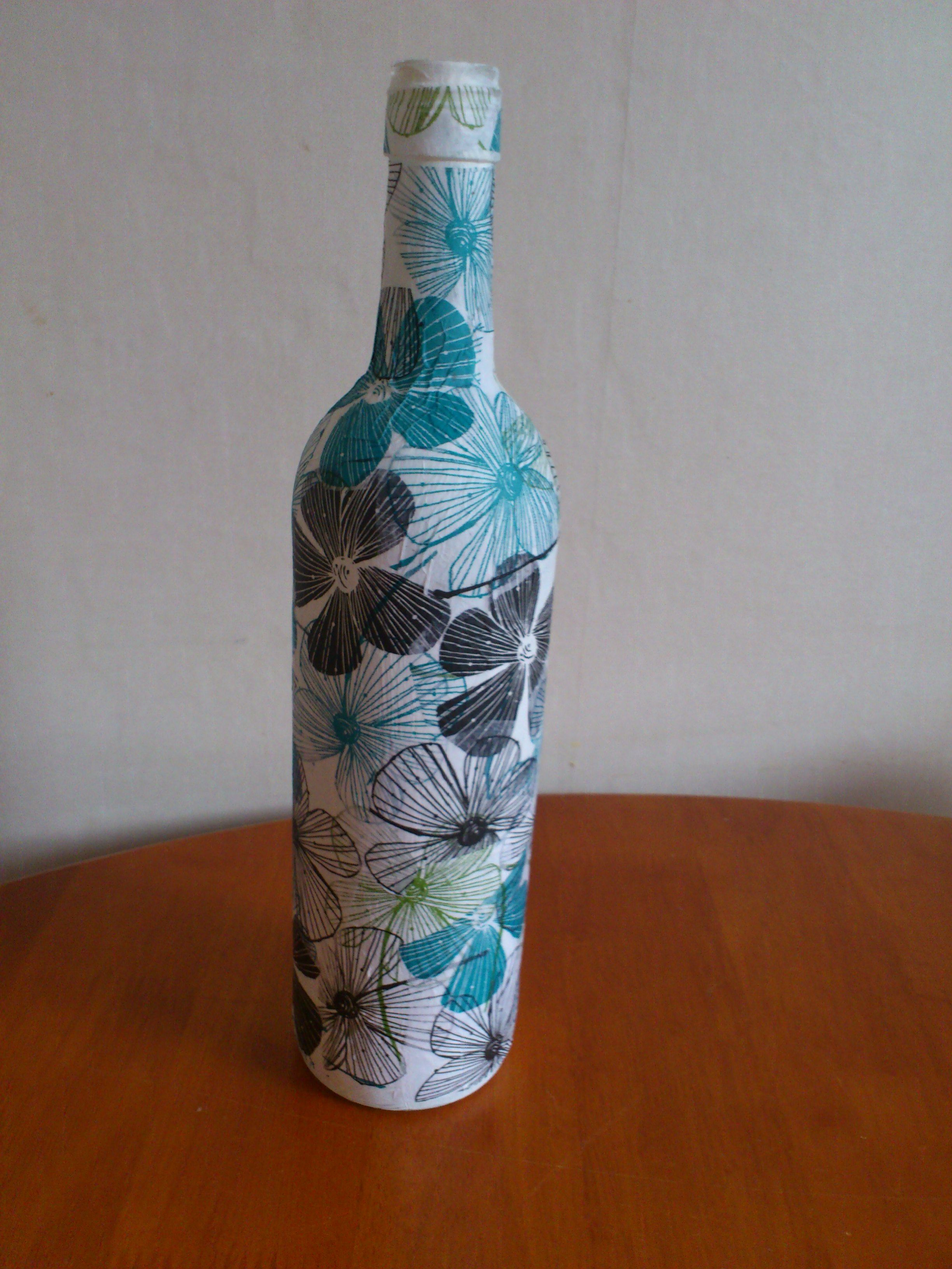 Diy wine bottle using pva glue and tissue paper artsy for Diy crafts with glass jars and bottles